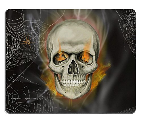 Funny Halloween Images (MSD Mouse Pad Natural Rubber Mousepad IMAGE of black human eyes horror face death head bone halloween abstract art symbol skull skeleton fear)