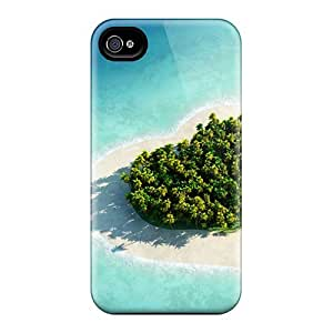 Slim Fit Tpu Protector Shock Absorbent Bumper Heart Shaped Herzen Island Maldives Case For Iphone 4/4s