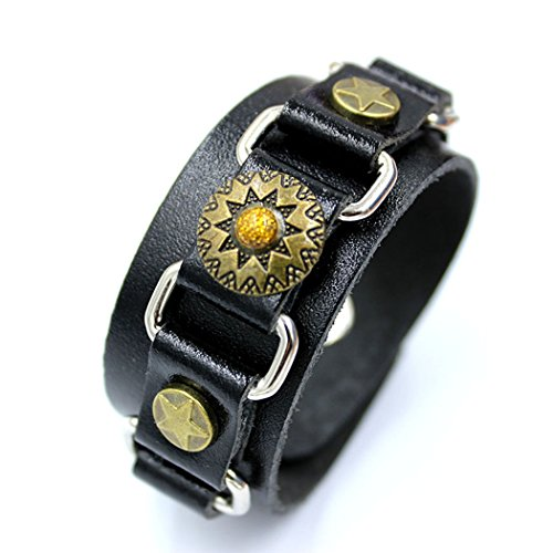 [Real Spark Fashion Punk Women Men Sunflower Charm Star Black Leather Wristband Wrap Bracelet] (Homemade Dragon Costumes Ideas)