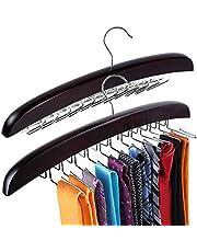 Tie Hanger, Tie Racks for Men, Tie Hanger Organizer, Tie Holders for Closet, Rotating Twirl 24 Wooden Tie Rack Closet Accessory Organizer, 2 Pack Walnut-15.7X6.3 Inch