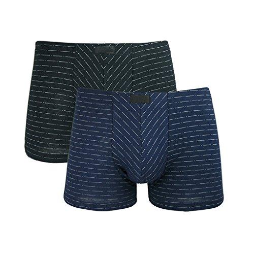 - Men's Underwear Men's Boxer Cotton Mid-Waist Breathable Boxer Briefs Men's Pants Black + Dark Blue (2 Pack) (Size : L)