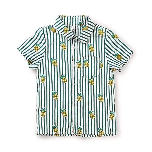 Boy's Pineapple Short Sleeve Button Down Hawaiian Shirt, Casual Beach Aloha Party Tops Camp Stripe Green Tag 160CM - 11-12 Years