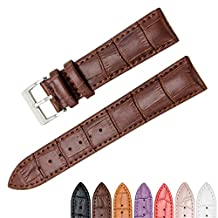 CIVO Genuine Leather Watch Bands Top Calf Grain Leather Watch Strap 18mm 20mm 22mm for Men and Women (Dark Brown, 18mm)