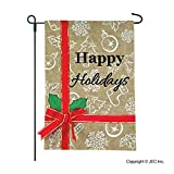 Christmas Garden Flag – Happy Holidays Sign, Banner, or Decorations – 12×18 Home Garden Flag – Burlap Garden Flag Review