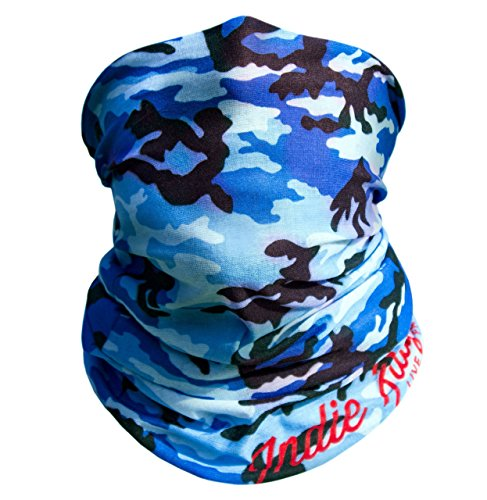 Blue Camo Outdoor Face Mask By IndieRidge - Microfiber Polyester Multifunctional Seamless Headwear for Motorcycle Hiking Cycling Ski Snowboard