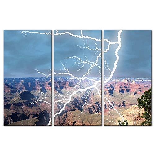 - Wall Art Decor Poster Painting On Canvas Print Pictures 3 Pieces Storm Lightening Bolt Stricking In The Grand Canyon Colorado Arizona Landscape Canyon Framed Picture For Home Decoration Living Room Ar