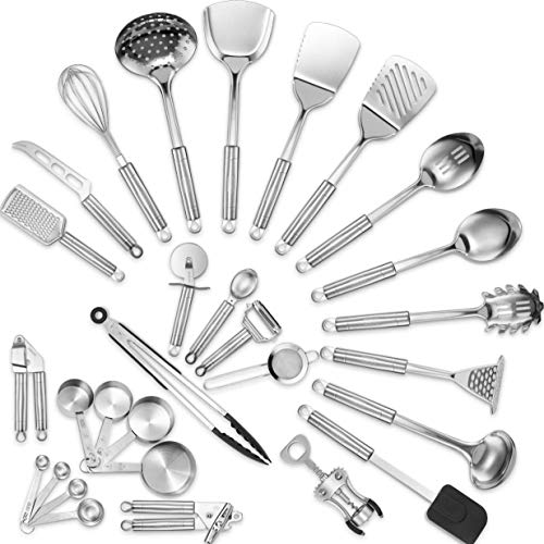 (Klee Stainless Steel Kitchen Utensil Set - 29 Cooking Utensils Set - Spatula, Garlic Press, Cheese Knife, Whisk, Tongs, Pizza Cutter, Grater, Strainer, Can Opener and More - Nonstick Cookware Set)