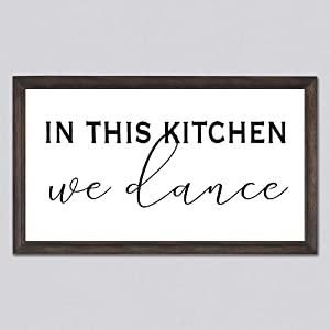 None Brand in This Kitchen We Dance Wood Sign, Kitchen Sign, Decorative Home Wall Art, Framed Sign for Home Wedding Party Farmhouse, Personalized Housewarming Gift, 12x22