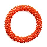 MHZ JEWELS Nepal Glass Beads Bracelet Stretchy Orange Red Braided Beaded Bracelet for Women Girls Jewelry Gift