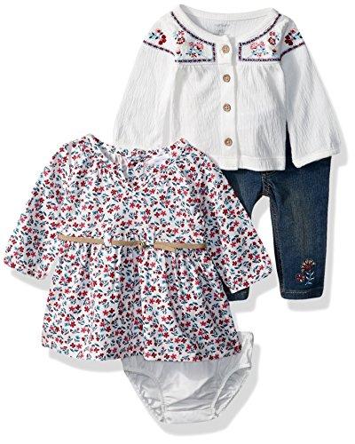 Carter's Baby Girls' 3-Piece Playwear Set, White/Denim/Floral, 6 Months