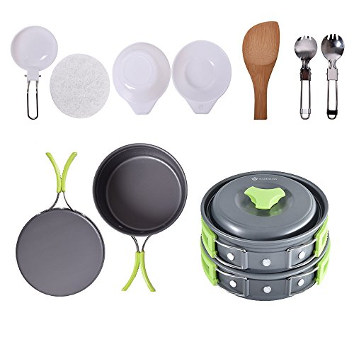 FAMELEY Camping Cookware Mess Kit - Lightweight Durable Compact Cook Set Includes Pots, Bowls, Pans, Folding Sporks(11 Pieces utensils) for Hiking Backpacking Picnic Outdoor - Kit Teflon Mess