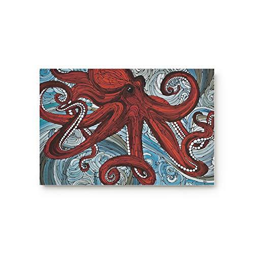 Voguard Doormat 18x30 Inch Non Slip Welcome Mat Red Octopus Under Water Hand-Drawn Painting Indoor Kitchen Floor Bathroom Entrance Rug Carpets]()