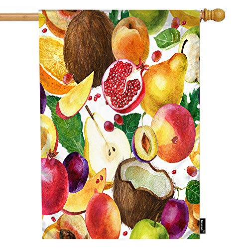 (Moslion Fruit House Flag Coconut Pomegranate Pear Apple Mango Peach Plum Orange Garden Flags 28x40 Inch Double-Sided Banner Welcome Yard Flag Home Outdoor Decor. Lawn Villa)