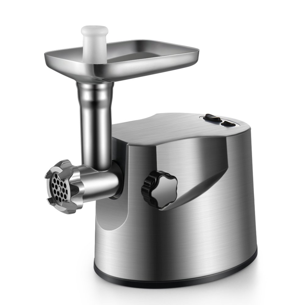 Flexzion Electric Meat Grinder 2000 Watt Heavy Duty Stainless Steel Sausage Stuffer Mincer w/3 Grinding Plates, 2 Cutting Blades & Attachment Tool Kit for Homemade Ground Beef, Kubbe, Meat Patties