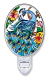 Amia 8558 Hand Painted Glass Night Light, Peacock Design, 6-Inch, Multicolored