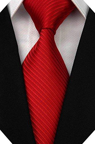 Wehug Men's Classic Solid Tie Silk Woven Necktie Jacquard Neck Red Ties For Men LD0050 -