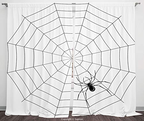 Rod Pocket Curtain Panel Polyester Translucent Curtains for Bedroom Living Room Dorm Kitchen Cafe/2 Curtain Panels/108 x 90 Inch/Spider Web,Toxic Poisonous Insect Thread Crawly Malicious Bug Halloween -