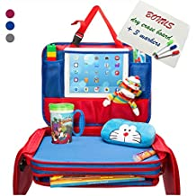 Kids Travel Tray - Portable Waterproof Car Backseat Activity Snack Lap Tray Hard Child Airplane Seat Play Organizer with iPad Tablet Holder & Dry Erase Board for Toddler Baby Infant & Children