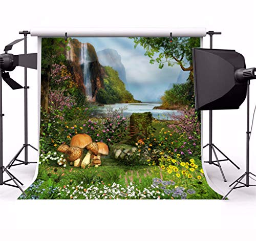 - Leyiyi 8x8ft Spring Flowers Photography Backdrop Secret Garden Flower Blossom Floral Enchanted Forest Trees Waterfall Lake Mountain Background Kids Birthday Wedding Photo Portrait Vinyl Studio Prop