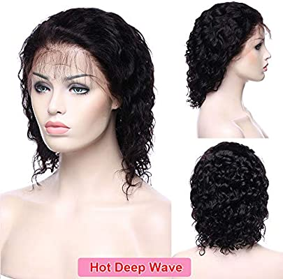 efd2f391808c Deep Wave Curly 360 Lace Frontal Wig 100% Virgin Peruvian Human Hair Pre  Plucked Lace Wig With Baby Hair for Black Women 130% Density Natural  Black
