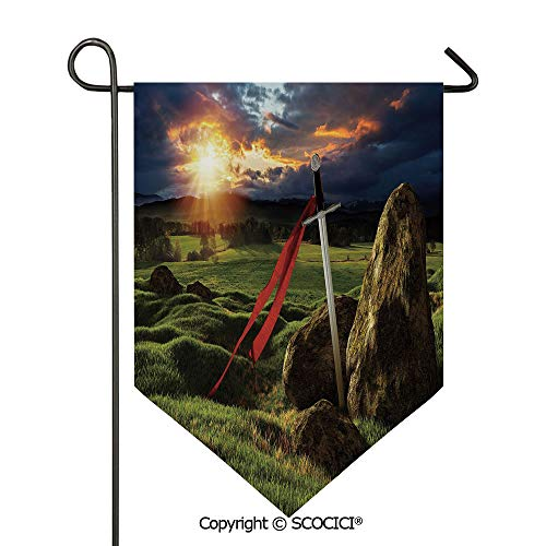 - SCOCICI Easy Clean Durable Charming 28x40in Garden Flag Arthur Camelot Legend Myth in England Ireland Fields Invincible Sword Image,Green Blue and Red Double Sided Printed,Flag Pole NOT Included