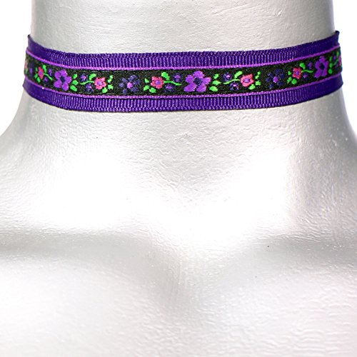 Twilight's Fancy Violet Purple Gothic Floral Ribbon Choke...