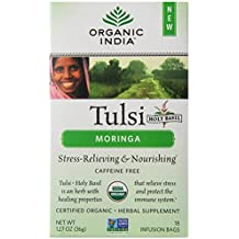 Organic India Tulsi Tea Organic Moringa Tea Bags, 18 Count
