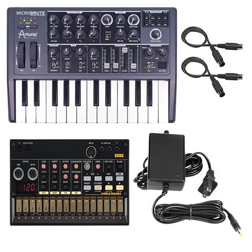 Arturia Microbrute with Korg Volcabeats Synth & Power Supply, MIDI Cable ()