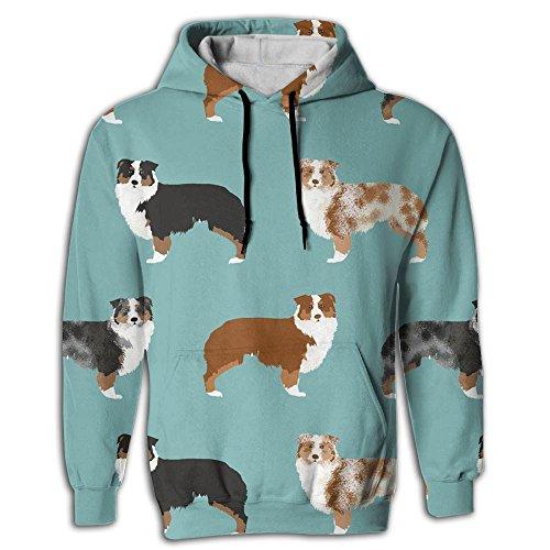 Men's Australian Shepherds Dogs Pullover Sweatshirt Hoodies Hooded Sweatshirt -