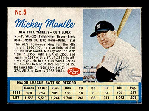 1962 Post #5 Mickey Mantle G/VG X1623337
