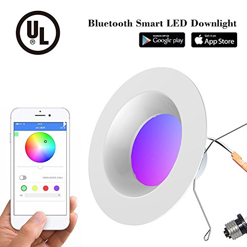 iLintek 13W 6inch Smart Bluetooth Dimmable Led Retrofit Recessed Lighting Fixture Baffle Downlight Ceiling Light 2700K-6000K,App Controlled