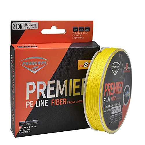 Proberos Proberos Braided Fishing Line 8 Strands Super Strong PE Fishing Wire Multifilament Fish String Ultra Power Heavy Tensile Lines for Saltwater & Freshwater Fishing Yellow 60LB 150yards price tips cheap