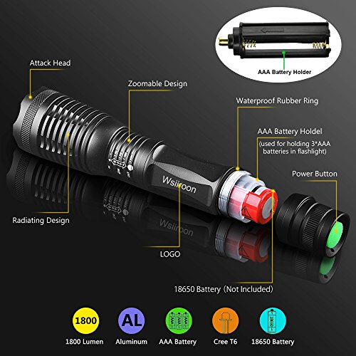 Ultra-Bright-Tactical-Flashlight-Wsiiroon-1800-Lumens-CREE-XML-T6-LED-Flashlight-Zoomable-IP65-Water-Resistant-Portable-5-Light-Modes-for-Indoor-and-Outdoor-Use-2-pack-Batteries-Not-Included