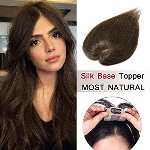 100% Density Top Hair Pieces Silk Base Crown Topper Human Hair Clip in Hair Toppers Top Hairpieces for Women with Thinning Hair Gray Hair/Hair Loss#04 Brown 10 inches 20g