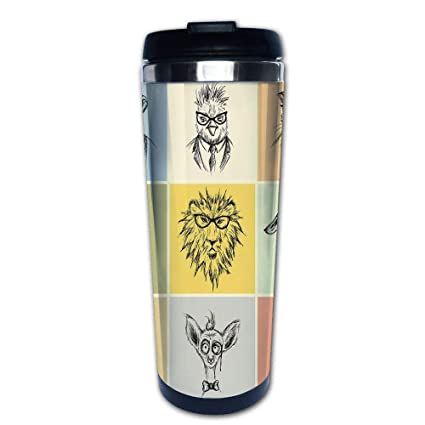0efcf2eec333 Stainless Steel Insulated Coffee Travel Mug,Camel Cat Lion Goat Tiger  Business Man Glasses,