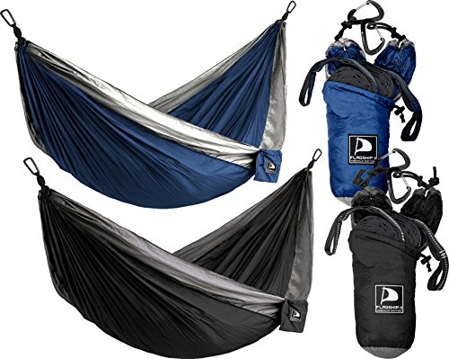 Flagship-X 2 Pack Double Camping Hammocks Packable for Backpacking Black and Blue