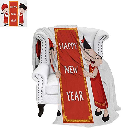 warmfamily Chinese New Year Summer Quilt Comforter Cheerful Asian Children in Traditional Costumes Holding a Celebration Sign Digital Printing Blanket 80