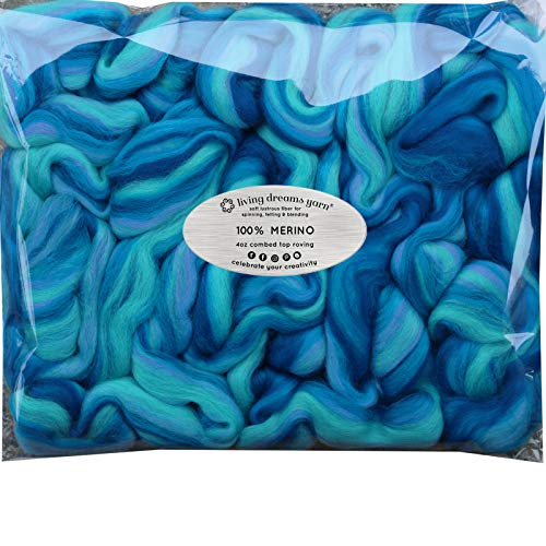 Super Soft Merino Wool Fiber. Colorful Combed Top Roving for Hand Spinning, Needle Felting, Wet Felting, soap Making and Dryer Balls. Bahama Mama ()