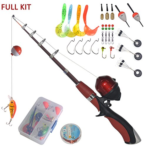 Portable mini fishing rod and reel combo kids fishing pole for Kids fishing gear