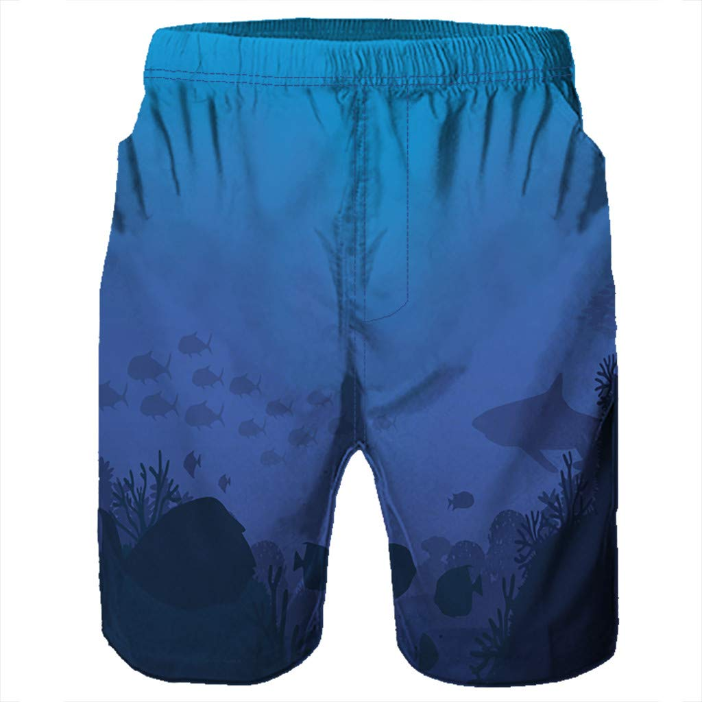 NUWFOR Men Casual 3D Graffiti Printed Beach Work Casual Men Short Trouser Shorts Pants(Blue,US:M Waist9.1-33.1'') by NUWFOR (Image #4)