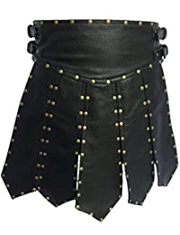 Mens Sexy Real Black Leather Heavy Duty Gladiator Kilt LARP