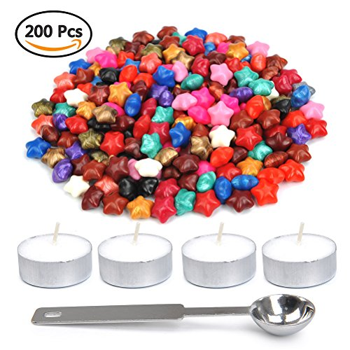 WOWOSS 200 Pcs Lucky Star Shape Sealing Wax Beads with 1 Piece Wax Melting Spoon and 4 Pieces Candles for Wax Seal Stamp (Mixed Color) (Seal Note Star)