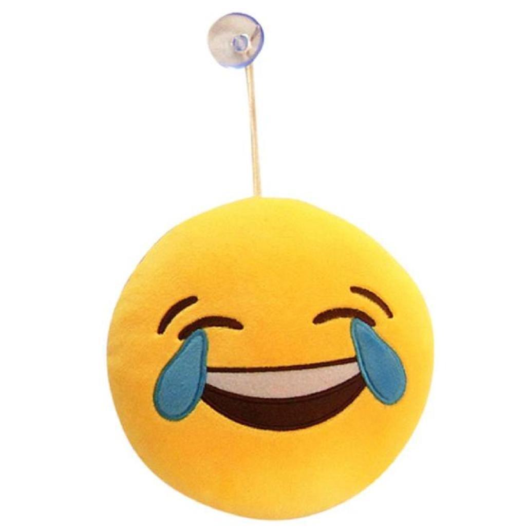 Sannysis® Emoji Emoticon Cojín redondo - Riendo Cojín redondo Cojín almohada de peluche de juguete de felpa (A) [Clase de eficiencia energética A+++]