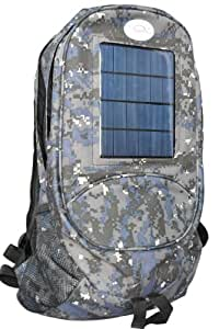 Solar Wholesale 6003 Camouflage Solar Backpack and Cell Phone Charger. 3 watt Solar Power, 4.4Ah Rechargeable Battery.