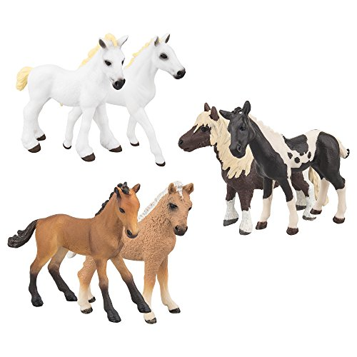 Toymany 6PCS Small Horse Foal Toy Figures, Educational Grassland Pony Animal Figurines, Birthday Gift for Kids Toddlers Children (Plush Horse Paint)