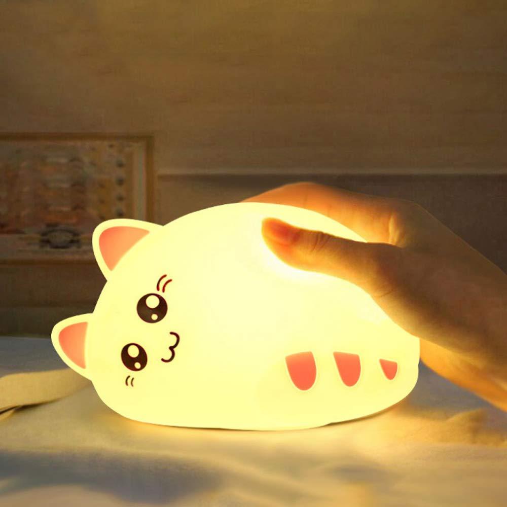 LED Nachtlicht Kinder,Attoe LED Ber/ühren Nachttischlampe Schlummerleuchte Katzenform Blau Touch und Fernbedienung,7 Farbm/öglichkeiten,Dimmbar,Sicheres ABS /& Silikon,Praktische USB-Ladeoption