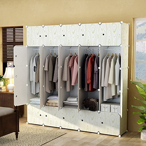 KOUSI Portable Closet Wardrobe Organizer Clothes Armoire Cube Storage Dresser for Bedroom, Large & Study, Wood Grain Pattern, 10 Cubes&5 Hanging Sections Design Armoire