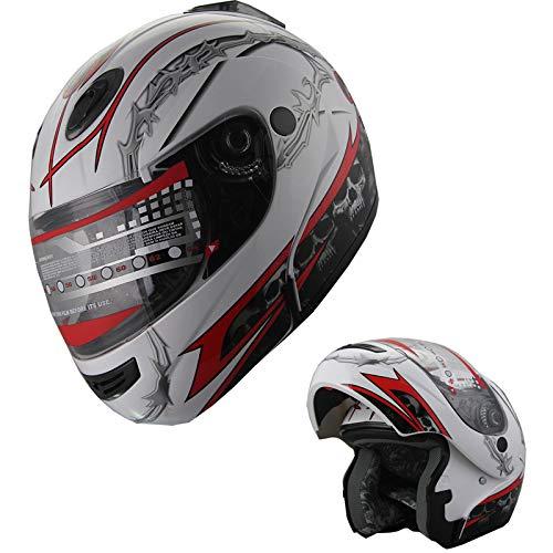 Motorcycle Helmet Adult DOT Modular Flip up Full Face Sports Bike Snowmobile Helmet with Anti-Fog Shield (210 White/Red