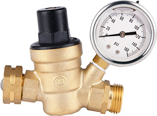 (SAIDE Water Pressure Regulator Valve, Brass Lead free NH Connector Adjustable Water Pressure Reducer Valve for RV travel trailer camper with oil Gauge and inlet screened filter)