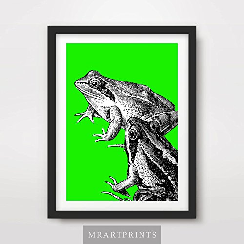 (FROG GREEN BRIGHT COLOR ANIMAL ILLUSTRATION POP ART PRINT Poster Modern Home Decor Room Interior Design Wall Picture A4 A3 A2 (10 Size Options))